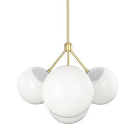 brass chalk color tetra globe chandelier dutton brown design lighting