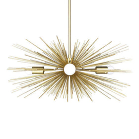"brass urchin chandelier 27"" lighting mid century modern dutton brown"