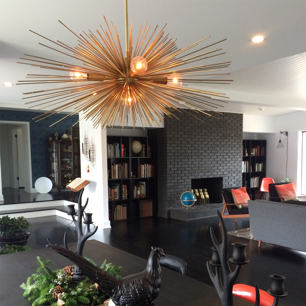 ... _hover Gold Urchin Chandelier Lighting Midcentury Modern Dining Room ...