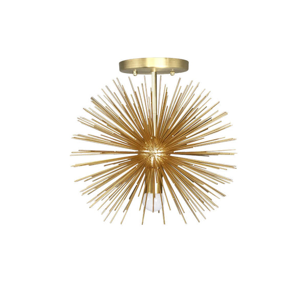 flush mount ceiling light fixture urchin chandelier gold 15 inch mid century modern custom lighting