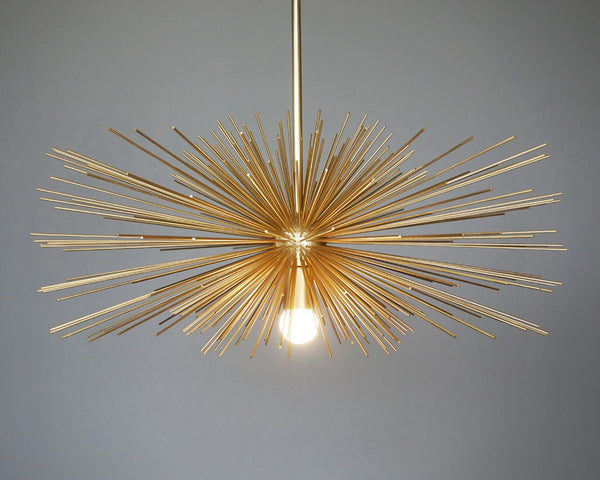 gold urchin pendant chandelier lighting 27""