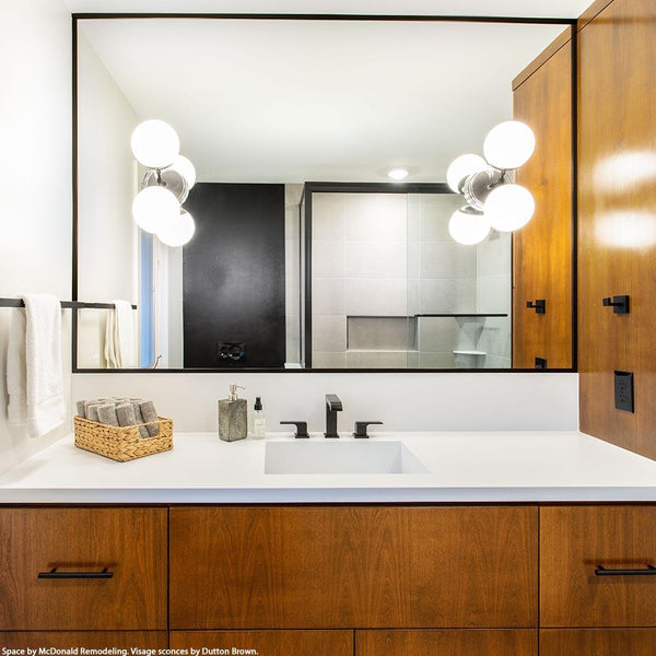 black visage globe sconce bathroom vanity lighting by Dutton Brown. Space by McDonald Remodeling. _hover
