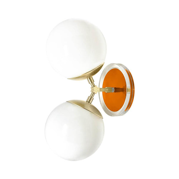 brass orange acrylic visage wall sconce dutton brown design lighting