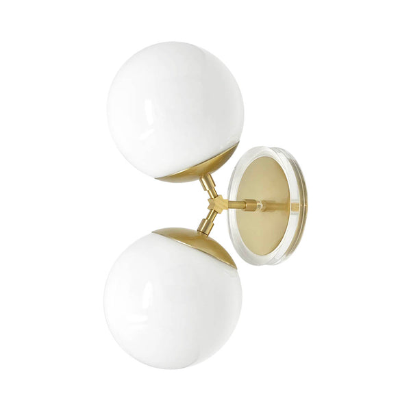 "wall lights mid century modern visage sconce 6"" brass finish white globe light fixture"