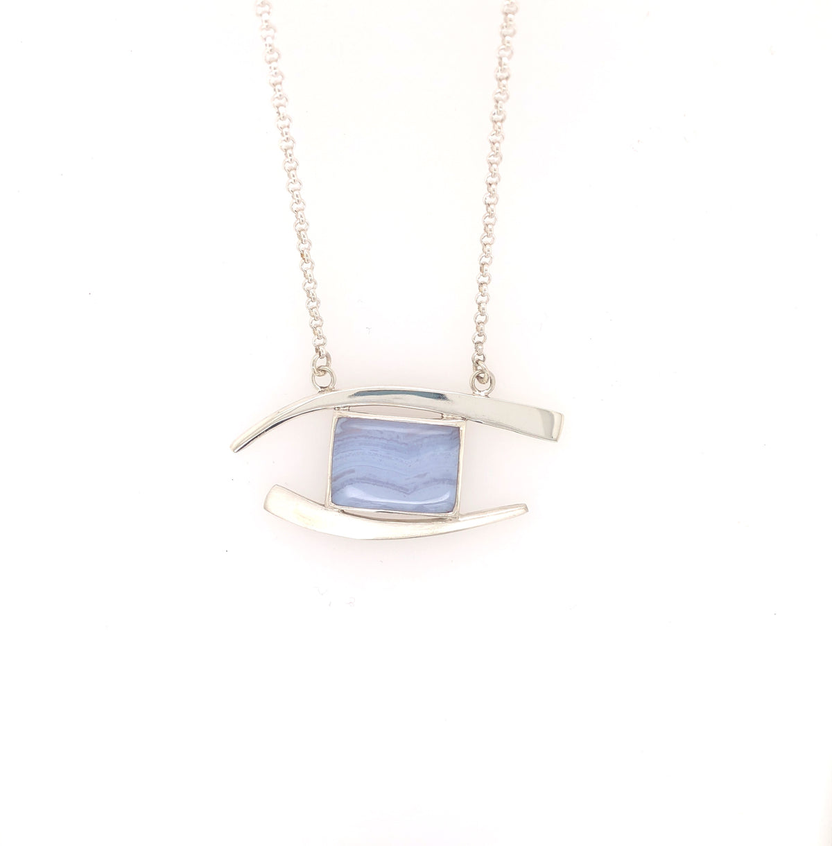 Blue Lace Agate Forged Pendant