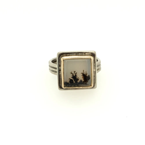 Dendritic Agate Square Ring