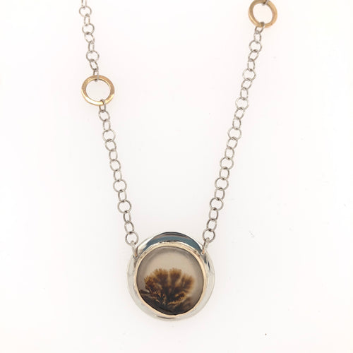 Dendritic Agate and Gold Necklace