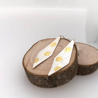 White and Gold Polka Dot Earrings