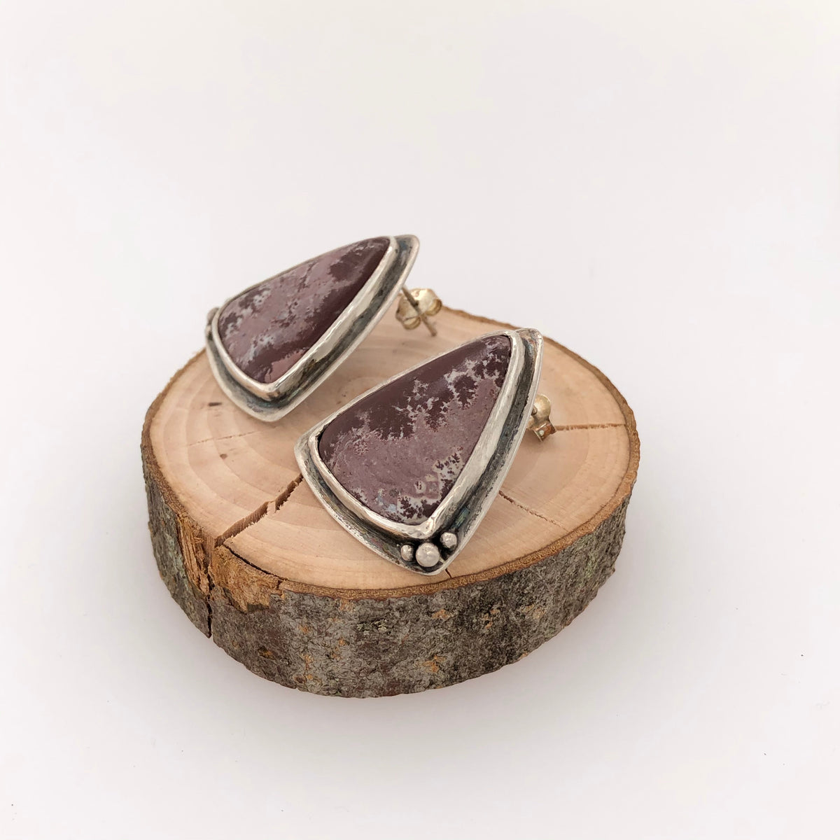 Dendritic Jasper Triangle Earrings
