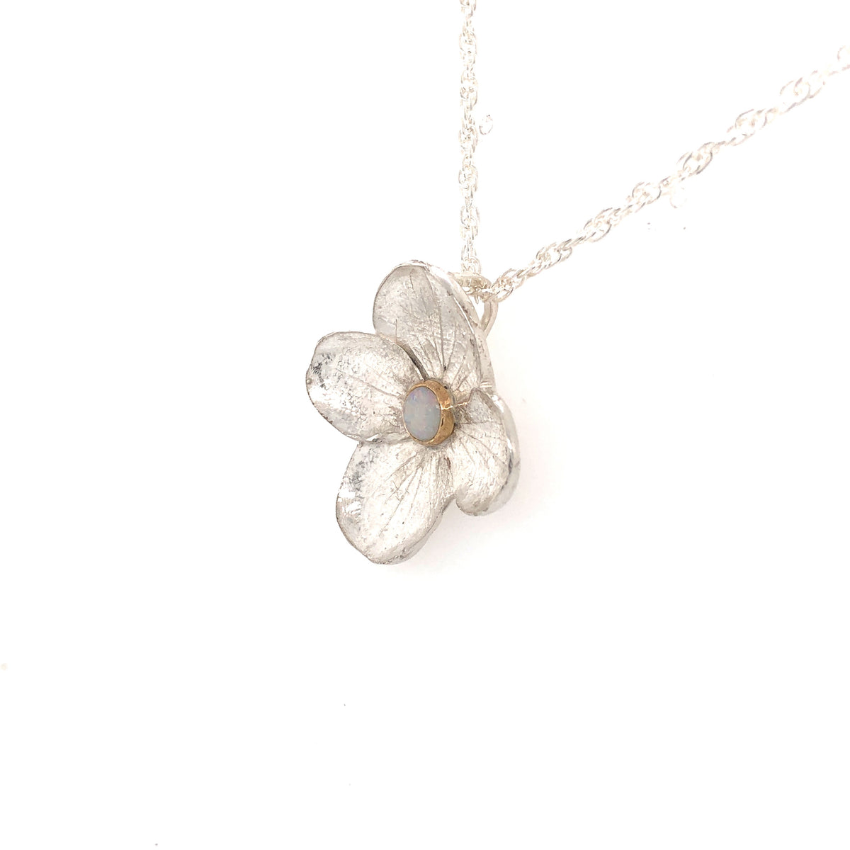 Hydrangea Pendant with Opal and Gold