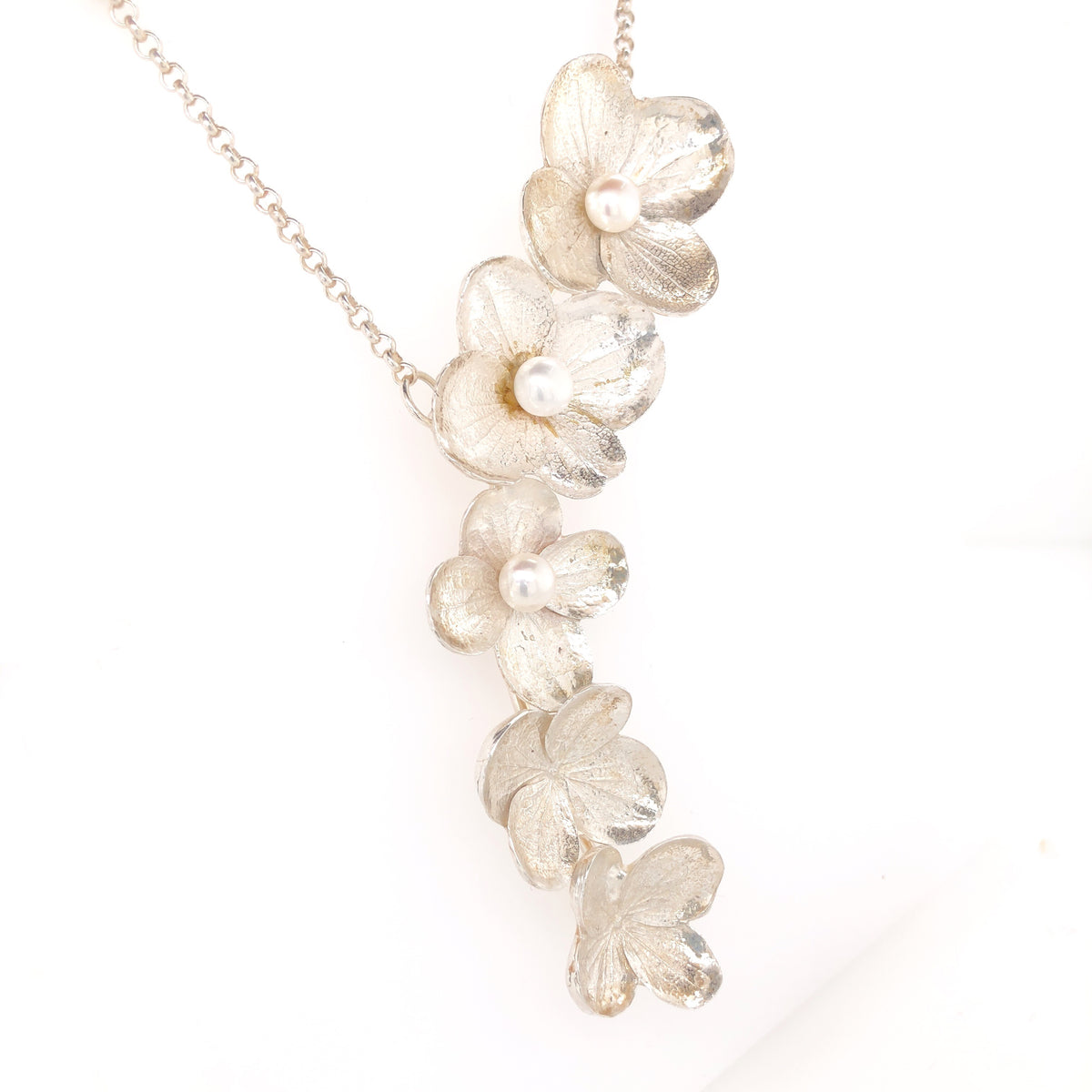 Hydrangea Cascade Necklace with White Pearls