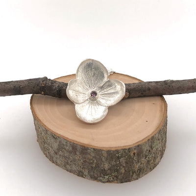 Hydrangea Pendant with Pink Spinel