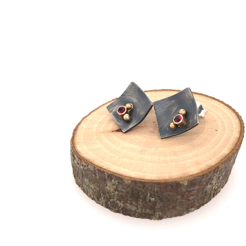 Black, Gold and Pink Tourmaline Studs