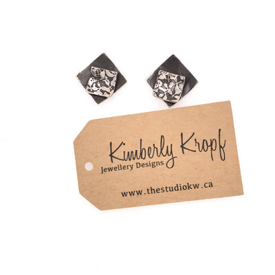 Contrasting Florals Black Square Earrings