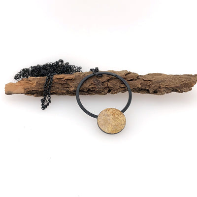 Black and Gold Dust Long Pendant