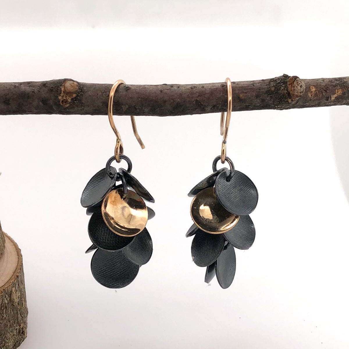 Black and Gold Cluster Earrings
