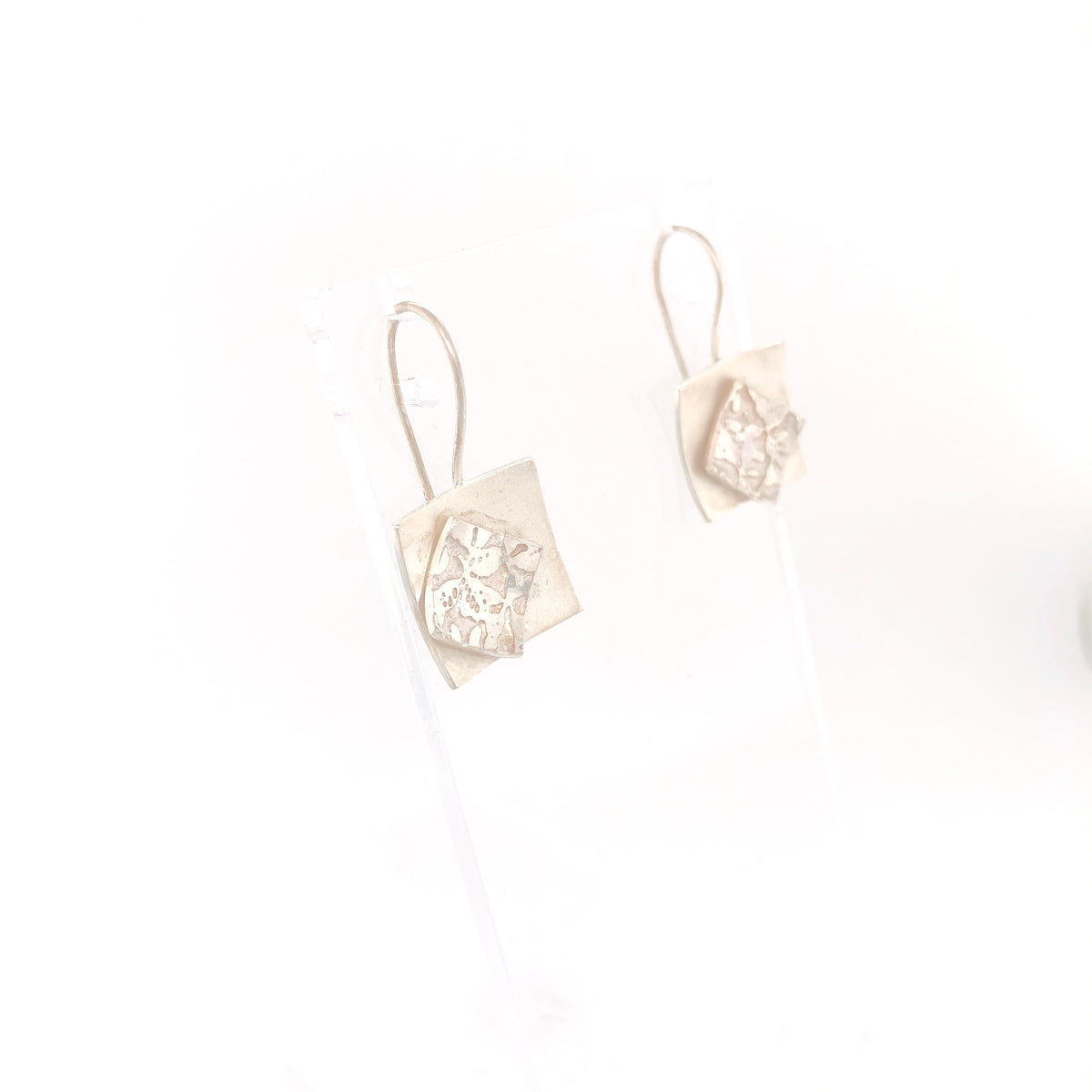 Contrasting Florals Bright Square Earrings