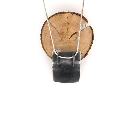 Contrasting Floral Black Rectangle Pendant