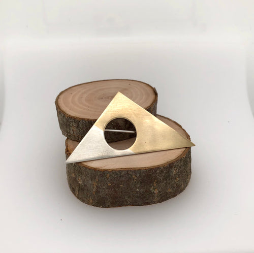 Sterling Silver and Brass Geometric Brooch