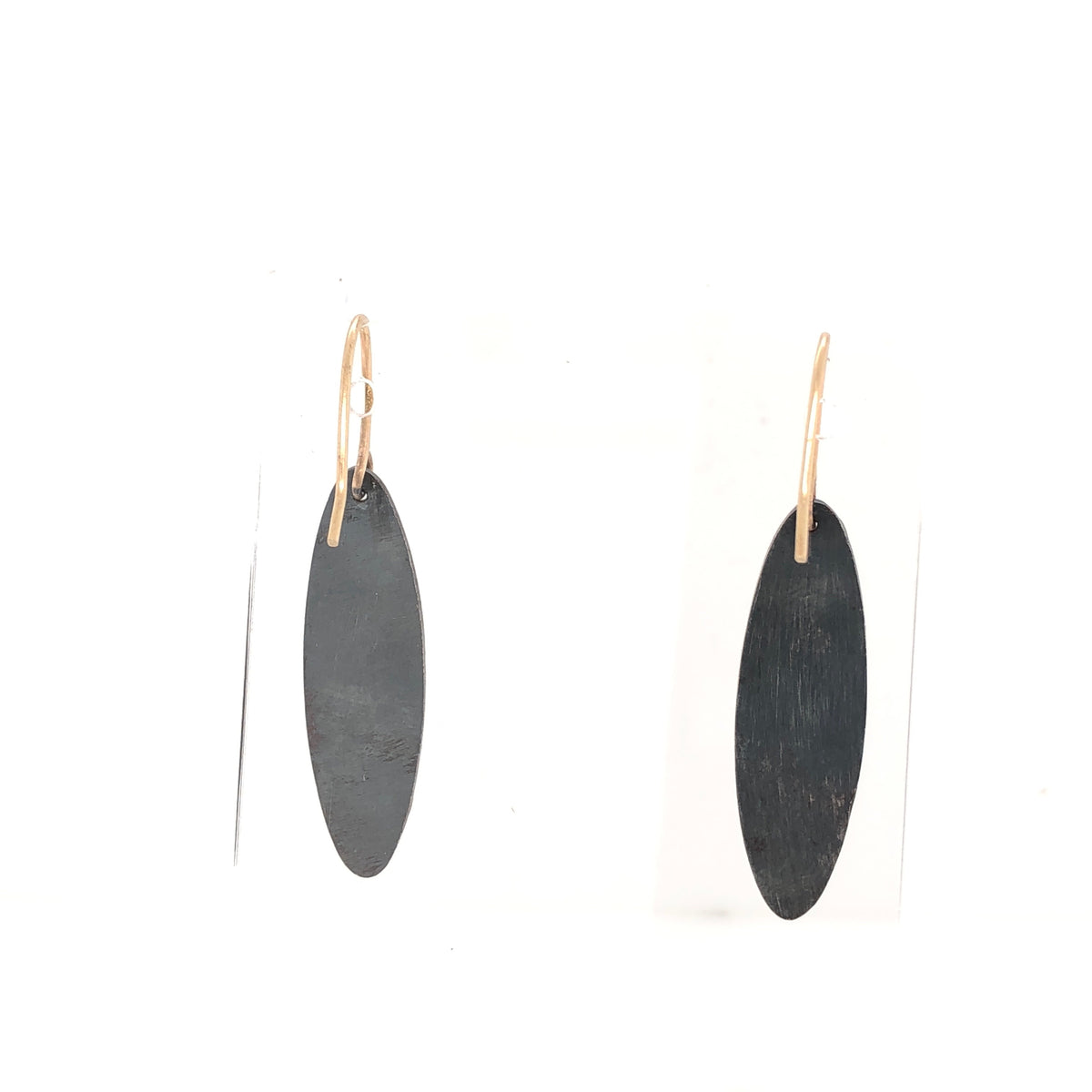 Black and Gold Flat Ellipse Oval Earrings
