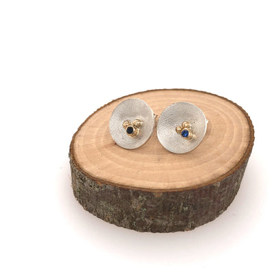 White and Gold Blue Sapphire Studs