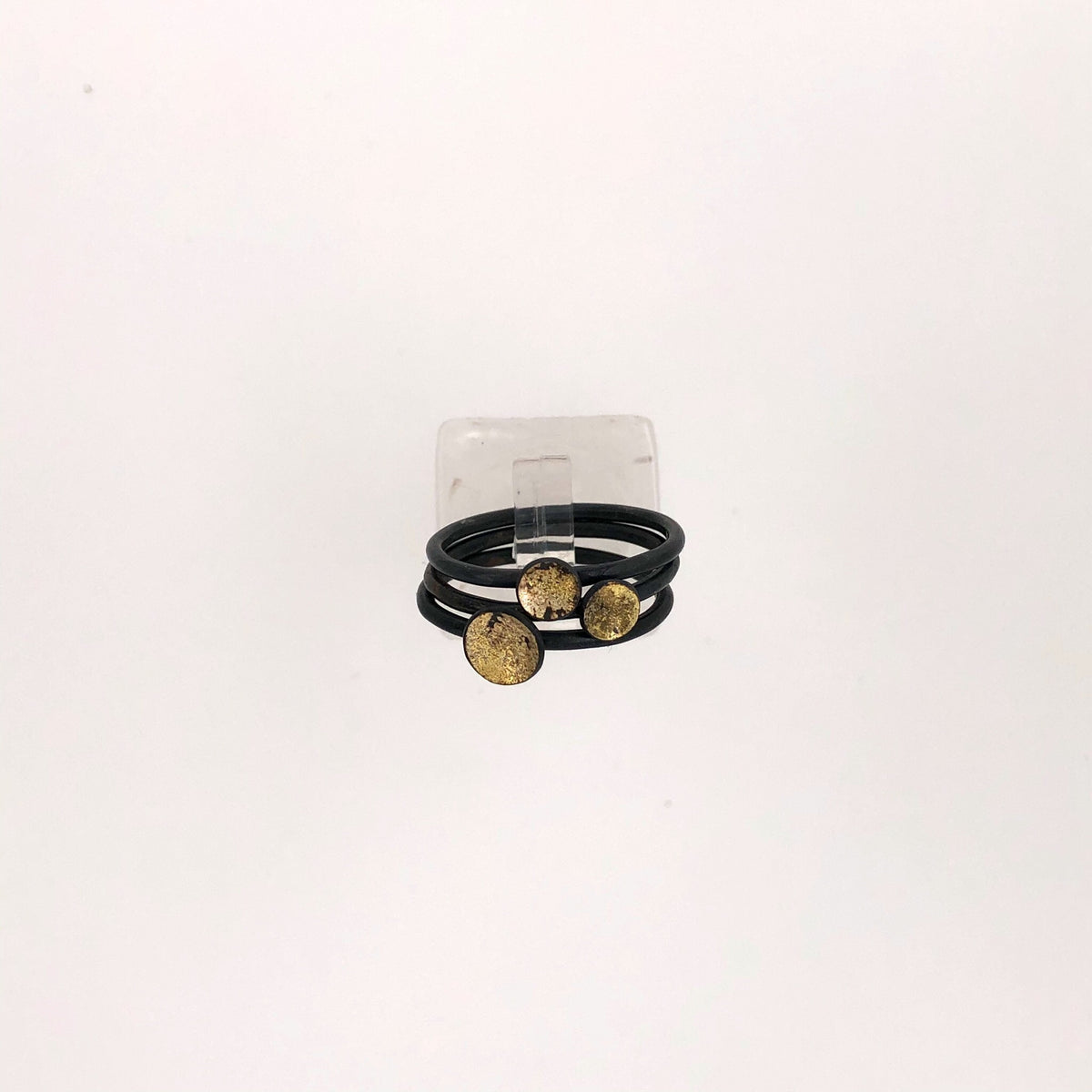 Black and Gold Dust Stacking Rings