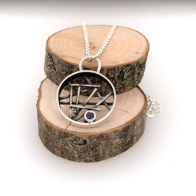 Circle Stick Pendant With Iolite