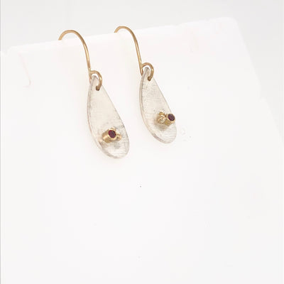 White and Gold Tear Drops with Tourmaline