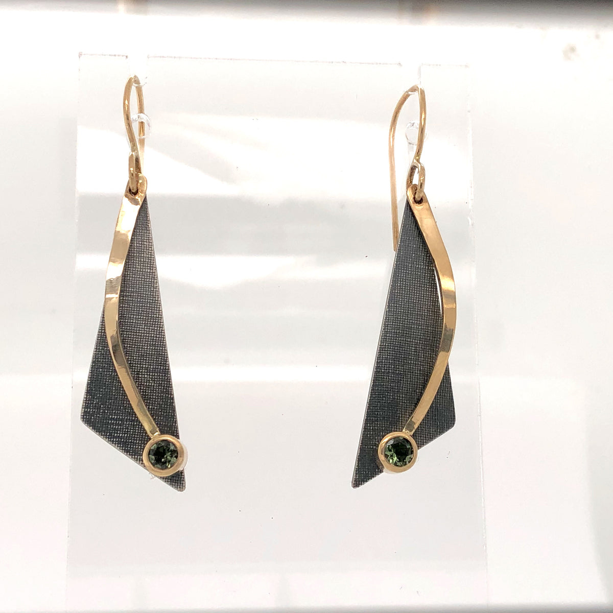 Black and Gold Triangle Drop Earrings