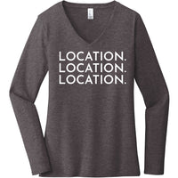 White Location Location Location - Long Sleeve Women's T-Shirt