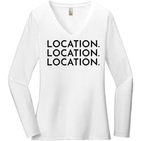 Black Location Location Location - Long Sleeve Women's T-Shirt