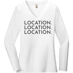 Charcoal Location Location Location - Long Sleeve Women's T-Shirt