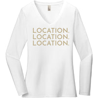 Gold Location Location Location - Long Sleeve Women's T-Shirt