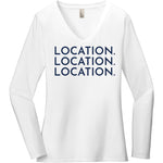 Navy Location Location Location - Long Sleeve Women's T-Shirt