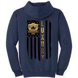 Black & Gold American Flag - Pullover Hooded Sweatshirt
