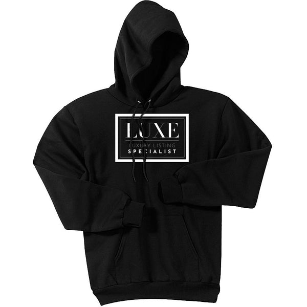 White Luxe Logo - Pullover Hooded Sweatshirt