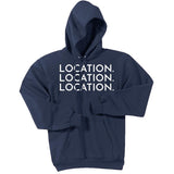 White Location Location Location - Pullover Hooded Sweatshirt