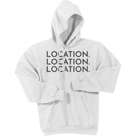 Charcoal Location Location Location - Pullover Hooded Sweatshirt