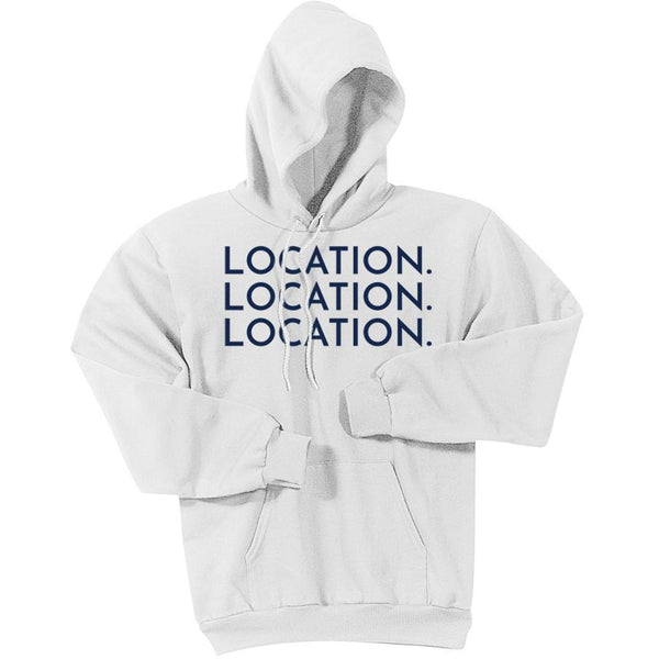 Navy Location Location Location - Pullover Hooded Sweatshirt