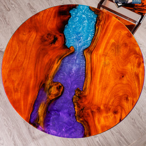 rainbow colorful design amazing moon river wax oil wood river round dining table