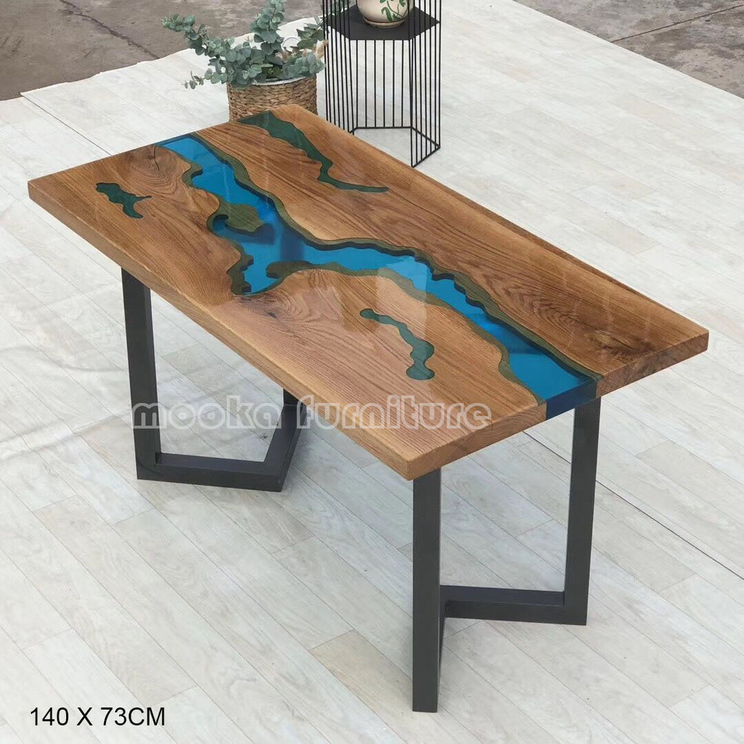 Clear blue resin river table - MOOKAFURNITURE