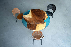 Resin Wood Dining Round Table
