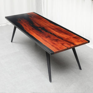 "MKRT-190705 ""Flame in the Night Sky"" Redwood Black Resin Dining Table"