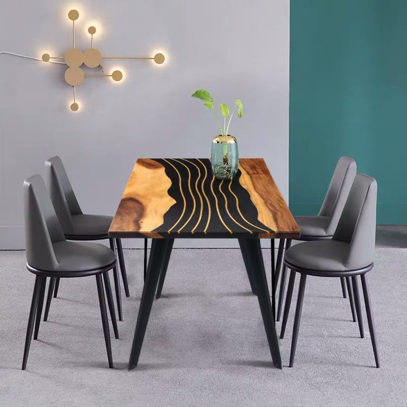 MKRT-190703 Modern Design Unique Curved Line Black Resin Walnut Dining Table