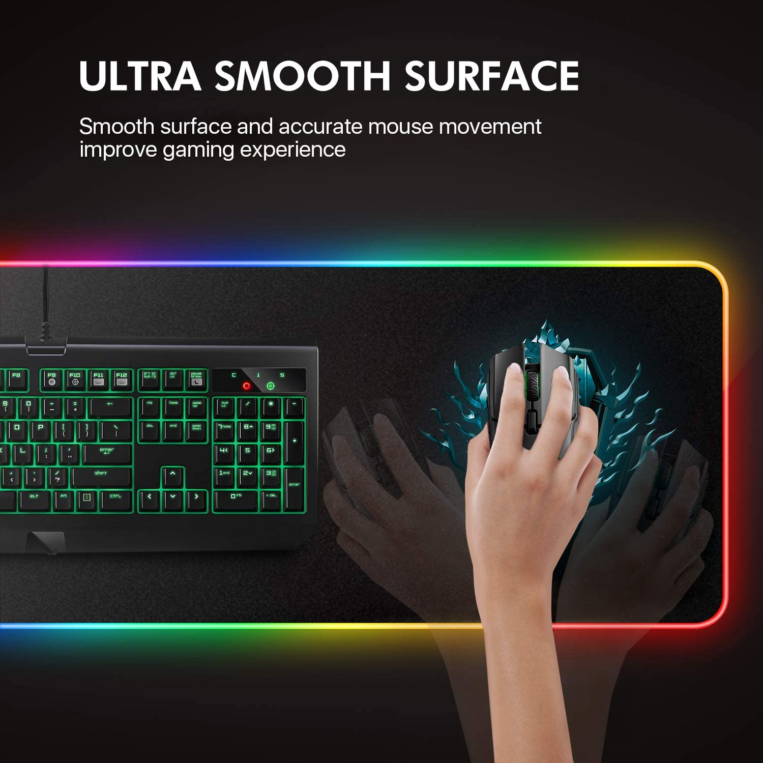 Luxcoms RGB Gaming Mouse Pad, LED Soft Extra Extended Large Mouse Pad, Anti-Slip Rubber Base, Computer Keyboard Mouse Mat - 31.5 X 12 Inch