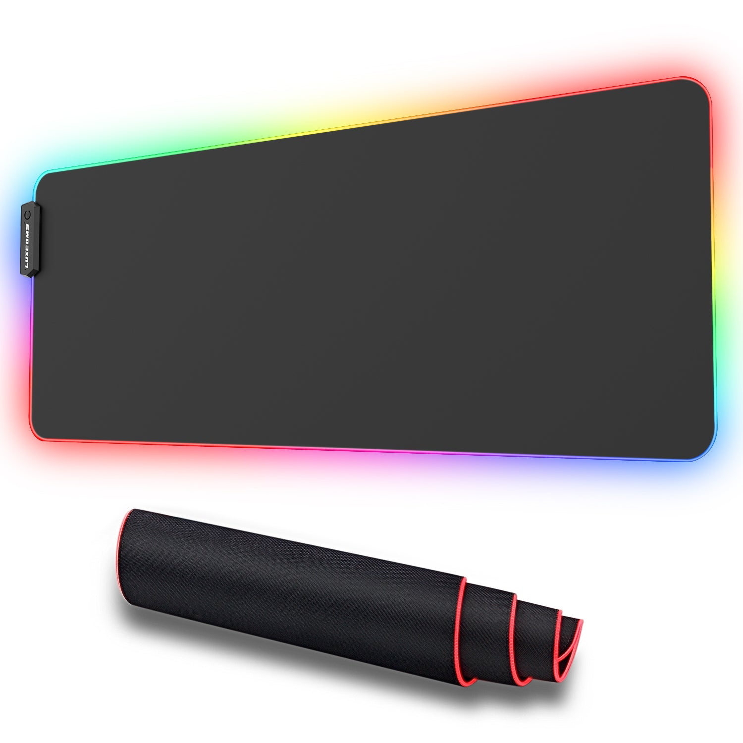 LUXCOMS RGB Soft Gaming Mouse Pad Large, Oversized Glowing Led Extended Mousepad ,Non-Slip Rubber Base Computer Keyboard Pad Mat,31.5X 11.8in