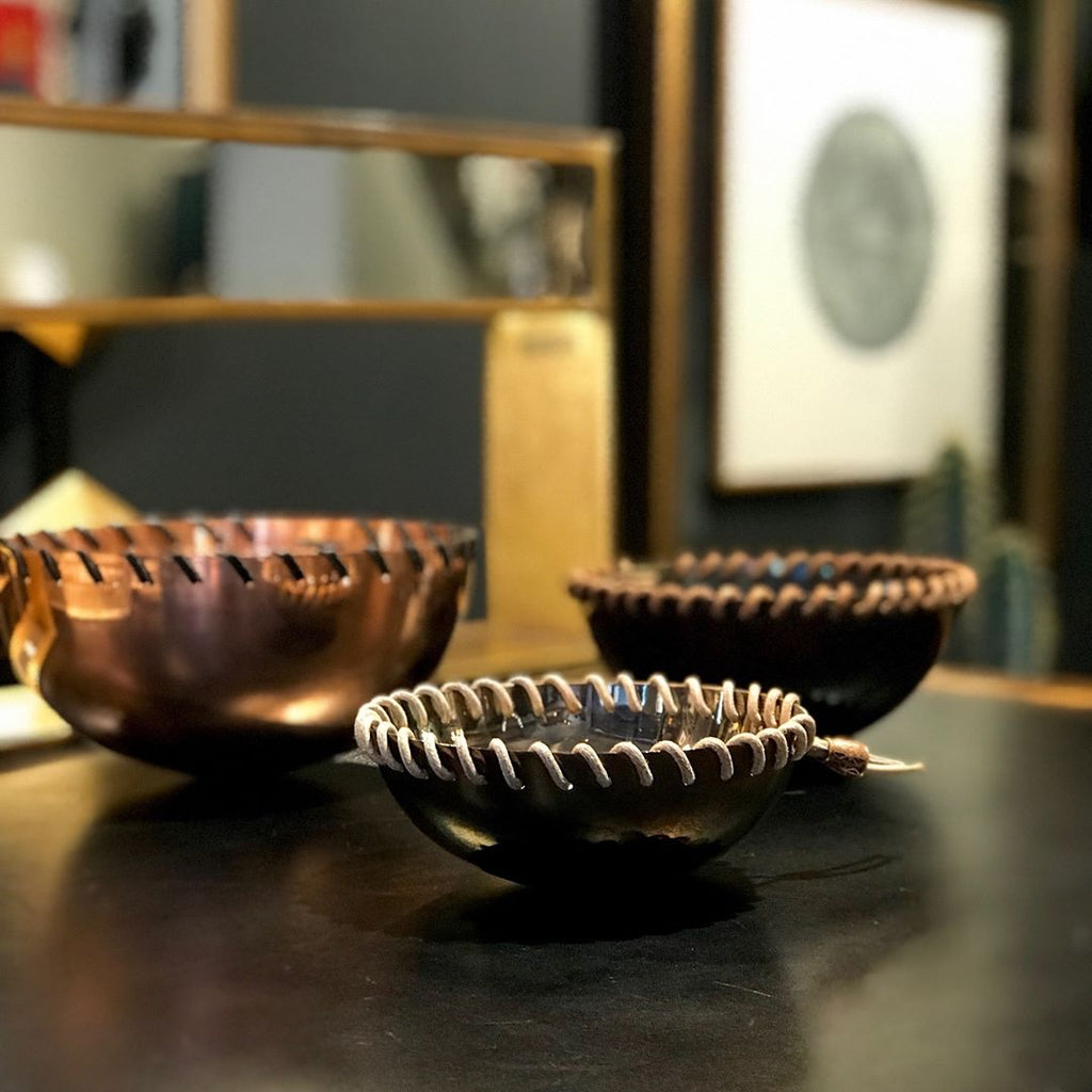 Leather Braided Copper Bowl / Medium - H+E Goods Company