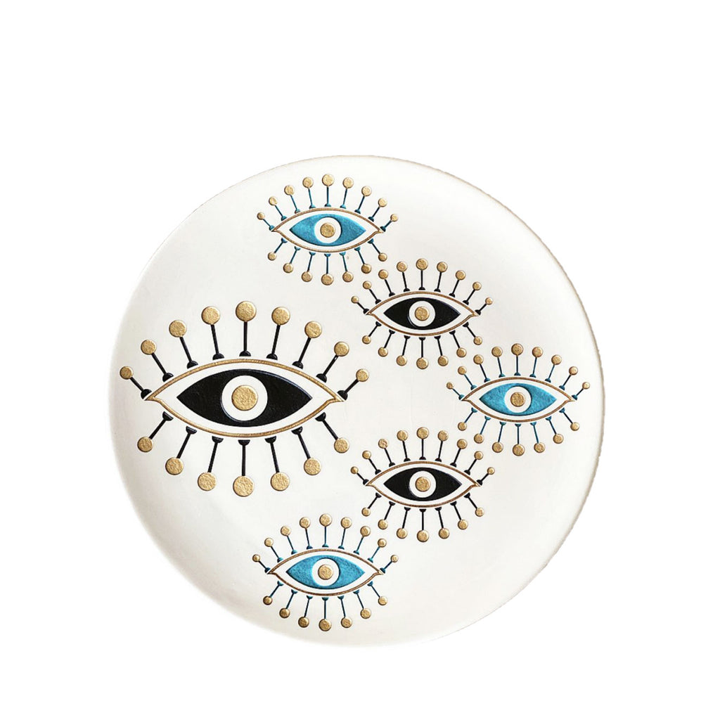Sandblasted Evil Eye Plate/ Cream and black - H+E Goods Company