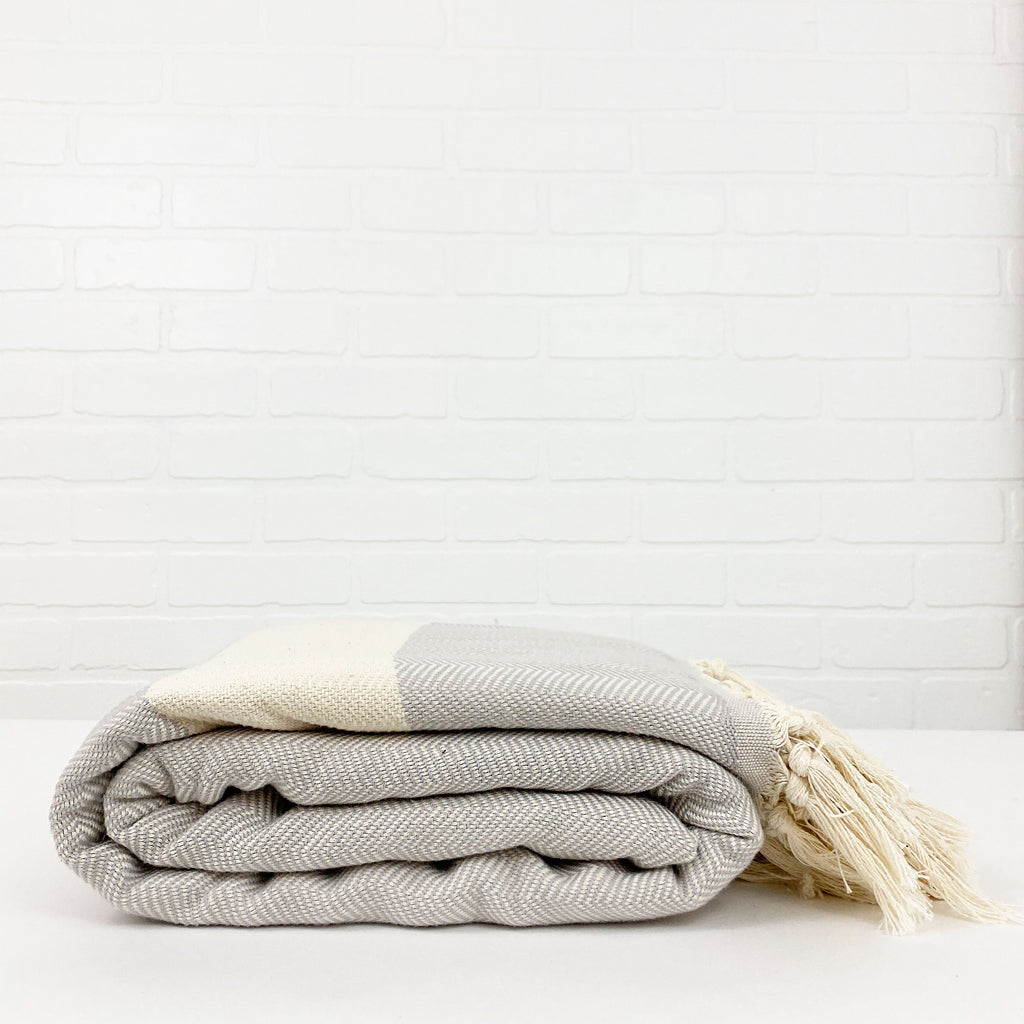 Herringbone Gray Cotton Throw Blanket - H+E Goods Company