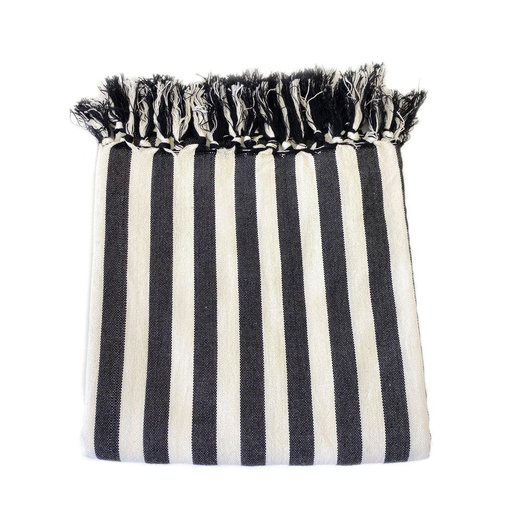 Black Striped Linen Turkish Towel - H+E Goods Company